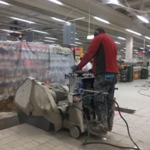 cięcie betonu w supermarkecie